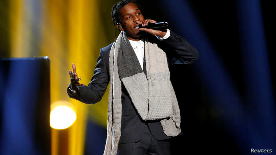 "FILE - A$AP Rocky performs ""I'm Not the Only One"" with Sam Smith, not pictured, during the 42nd American Music Awards in Los Angeles, Nov. 23, 2014."