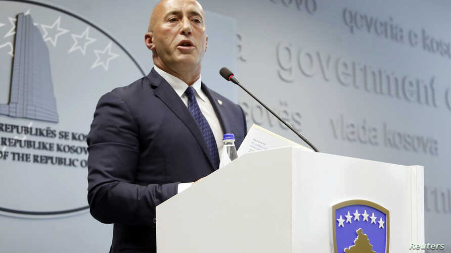 Kosovo's Prime Minister Ramush Haradinaj speaks during a press conference in Pristina