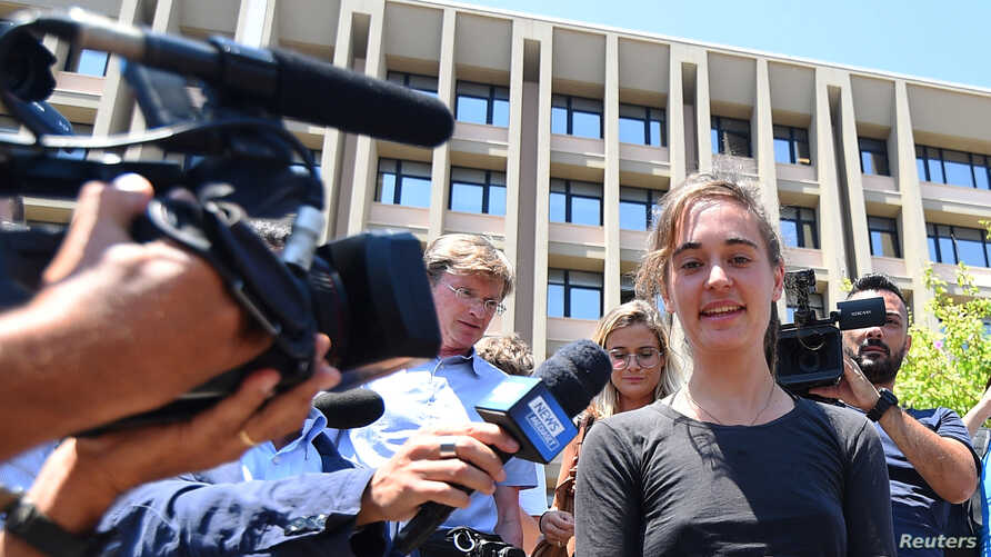 German captain Carola Rackete attends a hearing over accusations she aided illegal immigration in Agrigento