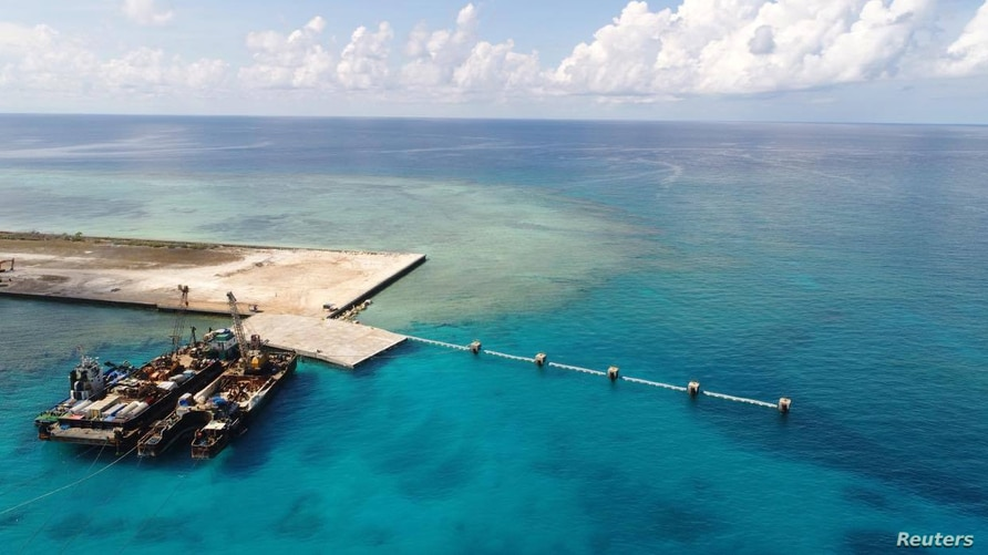 Handout photo by Philippines' Department of National Defense shows the newly built beach ramp at Thitu Island in the disputed South China Sea