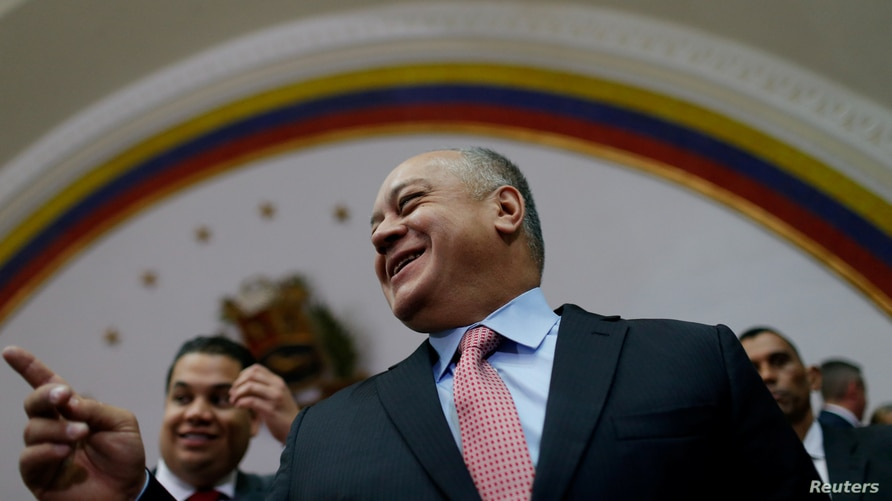 FILE PHOTO: Venezuela's National Constituent Assembly President Diosdado Cabello leaves after a news conference in Caracas