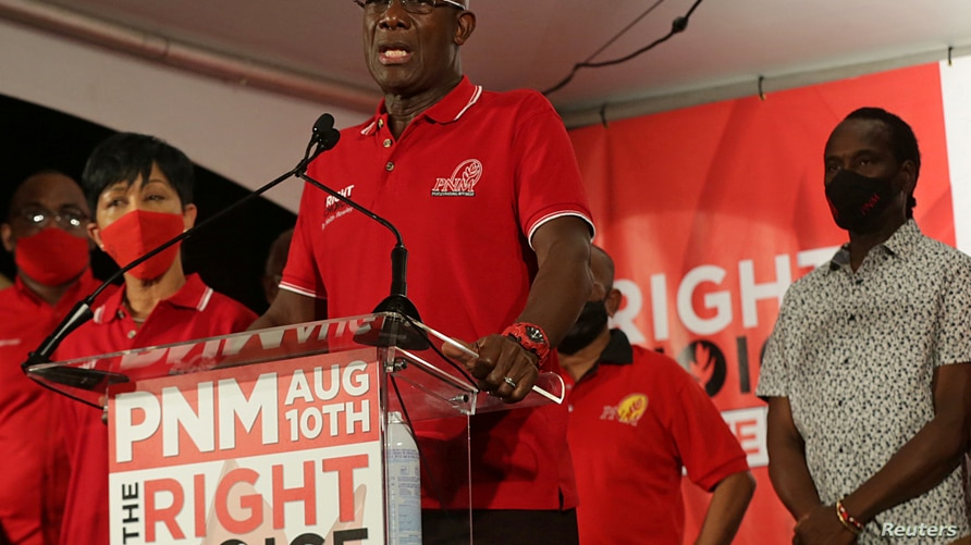 Trinidad and Tobago Prime Minister Keith Rowley addresses the audience while claiming victory for his ruling party in a general election in Port of Spain