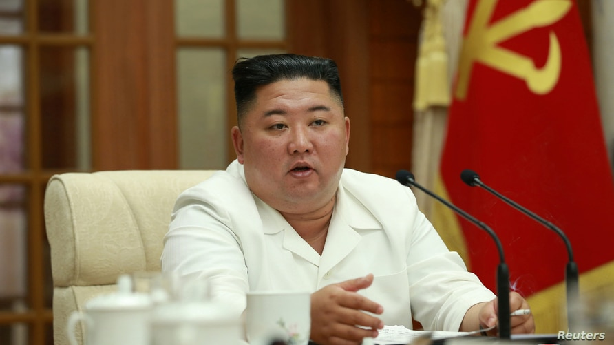 North Korean leader Kim Jong Un attends enlarged meeting of the Political Bureau of the 7th Central Committee of the Workers' Party of Korea (WPK), in Pyongyang
