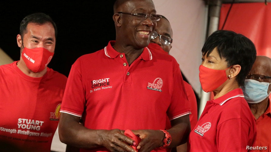 Trinidad and Tobago Prime Minister Keith Rowley reacts while claiming victory for his ruling party in a general election in Port of Spain