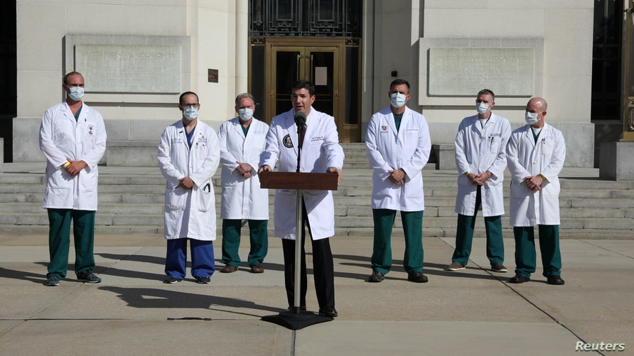 Doctors speak about U.S. President Trump's health outside Walter Reed National Military Medical Center in Bethesda, Maryland