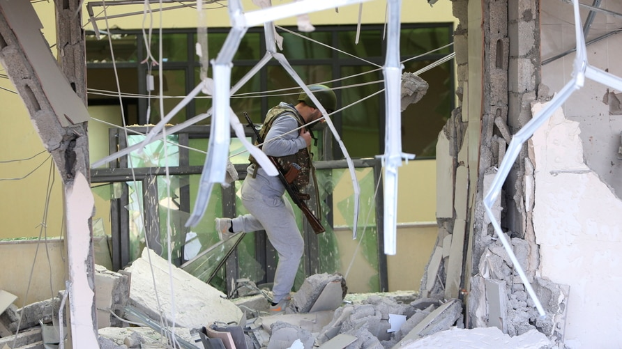 A view shows a damaged medical centre following recent shelling in Stepanakert