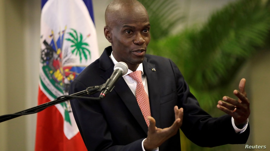 FILE PHOTO: Haiti's President Jovenel Moise speaks during a news conference to provide information about the measures concerning coronavirus, at the National Palace in Port-au-Prince
