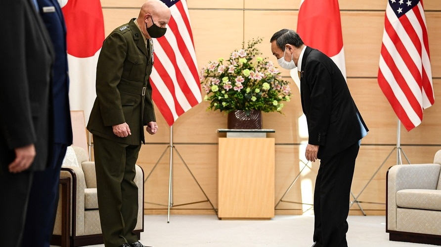 Commandant of the Marine Corps of the U.S. General David H. Berger meets with Japan's Prime Minister Yoshihide Suga in Tokyo