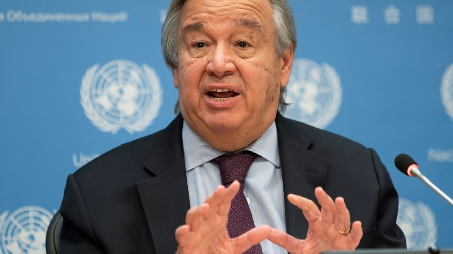 United Nations Secretary-General Guterres speaks during a news conference at U.N. headquarters in New York City, New York