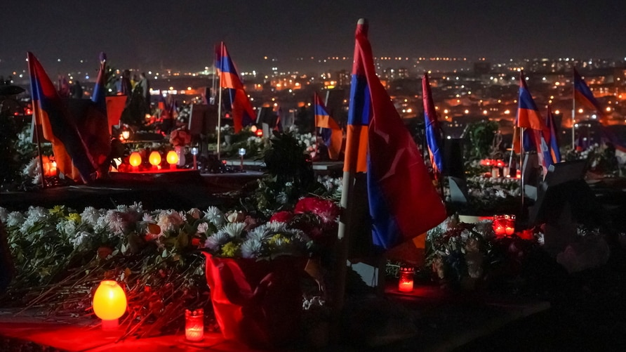 A view shows a military cemetery on the eve of nationwide mourning in Yerevan