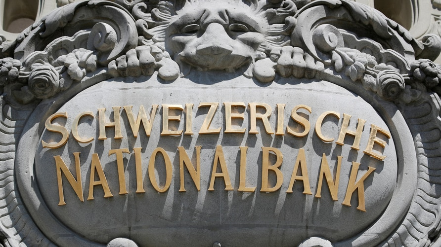 Swiss National Bank logo is pictured on SNB building in Bern