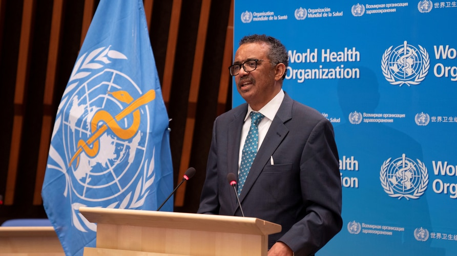 FILE PHOTO: Ghebreyesus, WHO director general attends virtual 73rd World Health Assembly in Geneva