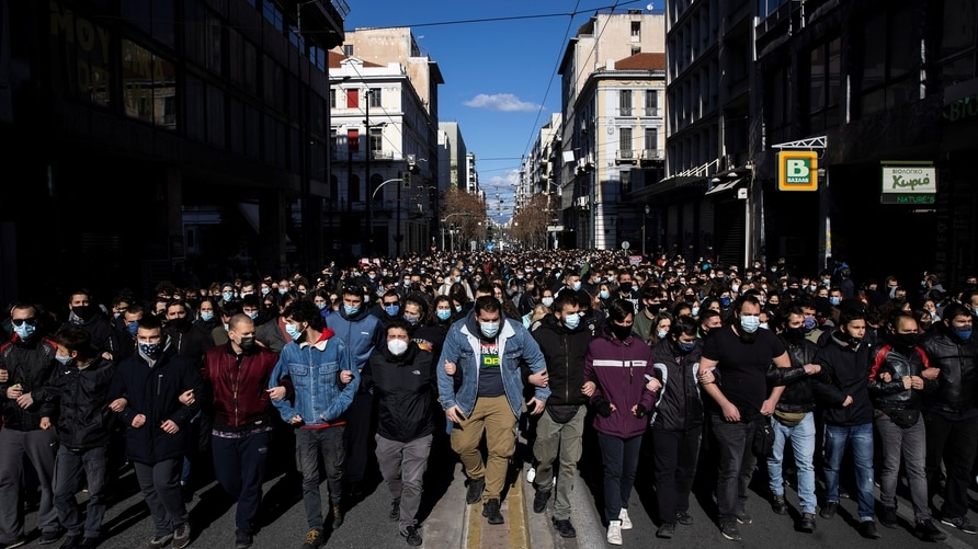 Greek students demonstrate against government plans to set up a university police, amid the coronavirus disease (COVID-19) pandemic, in Athens