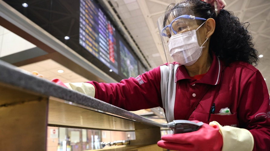 Taiwan Taoyuan International Airport staff amid the coronavirus disease (COVID-19) pandemic