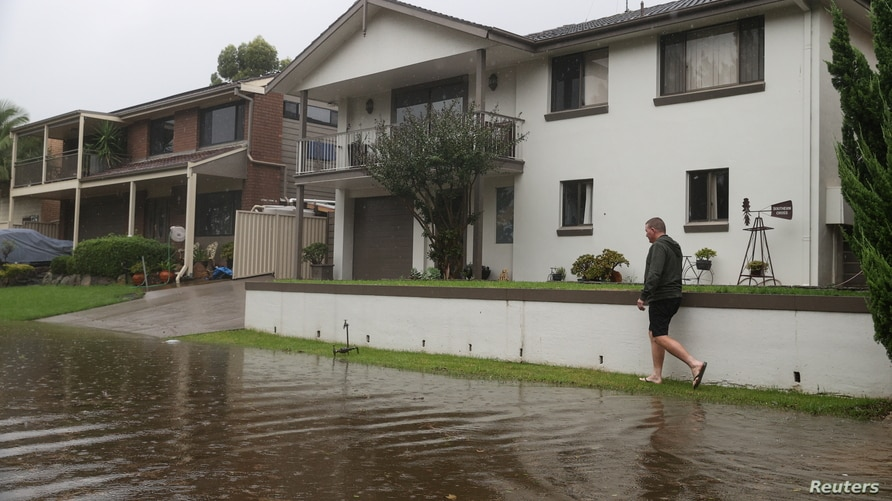 A severe flood event affecting the state of New South Wales is seen in Sydney