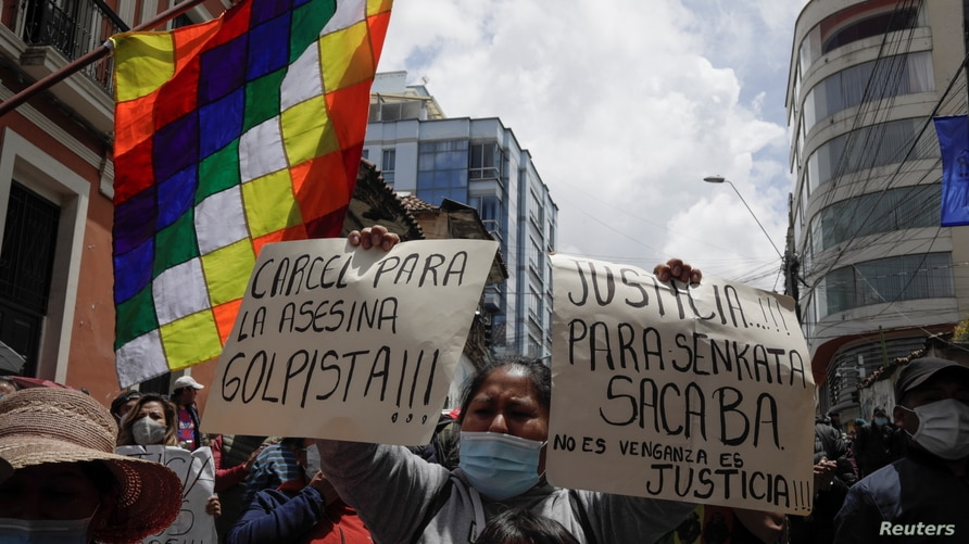 Protest demanding jail for Bolivia's former interim President Anez, in La Paz