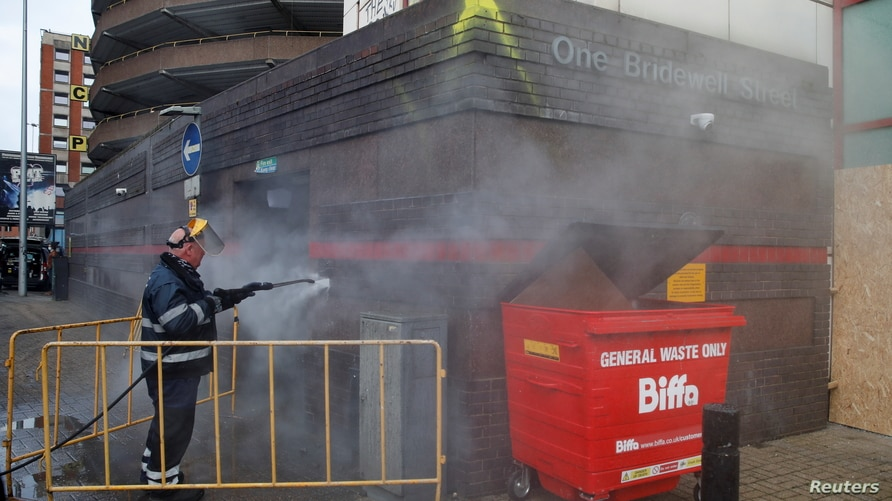 Cleanup following anti Police bill protest in Bristol