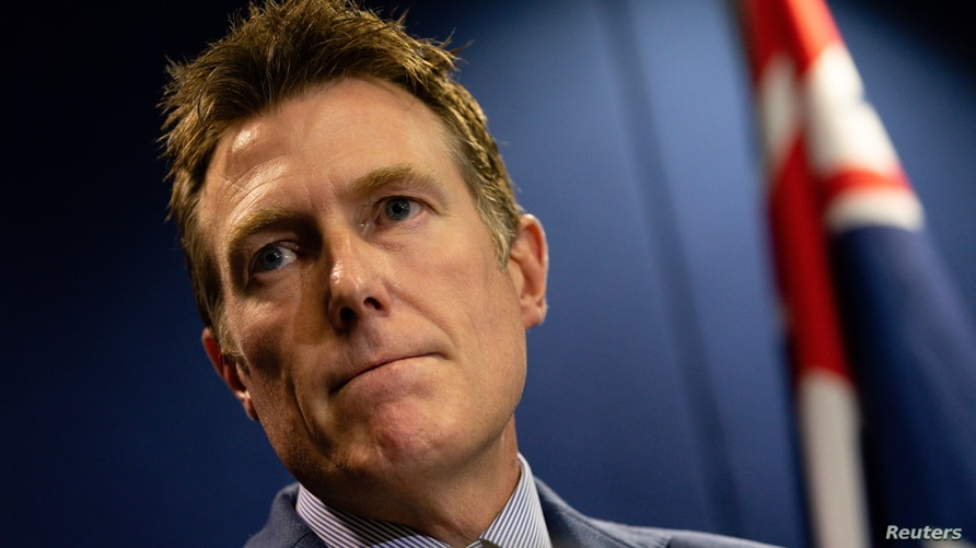 Australia's Attorney-General Christian Porter addresses the media in Perth