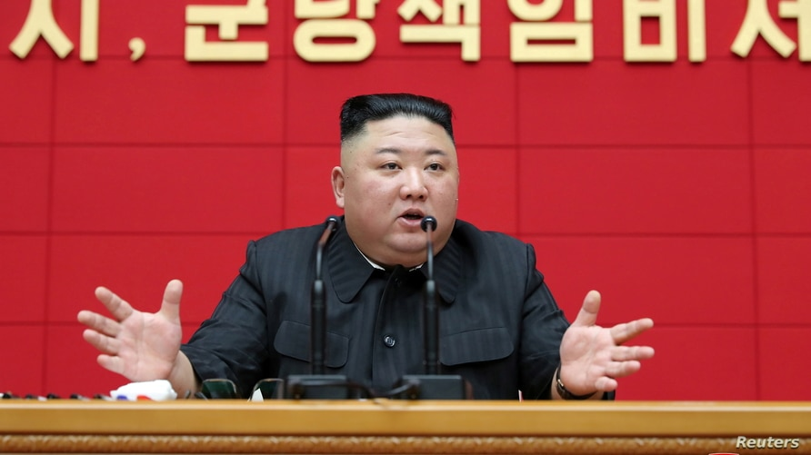North Korea's leader Kim Jong Un speaks during first short course for chief secretaries of city and county party committees in Pyongyang