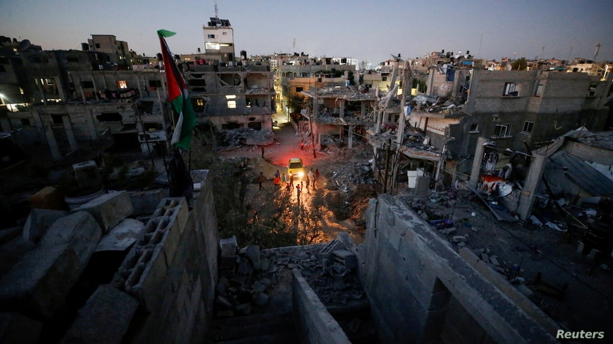 A general view of damaged houses which were destroyed by Israeli air strikes during the Israel-Hamas fighting in Gaza