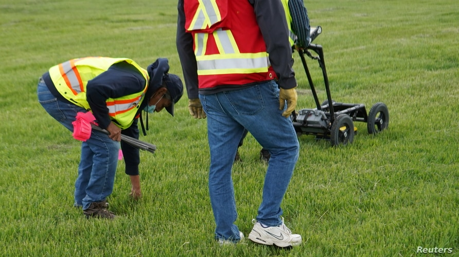 A crew performs a ground-penetrating radar search of a field near the former Marieval Indian Residential School in Grayson