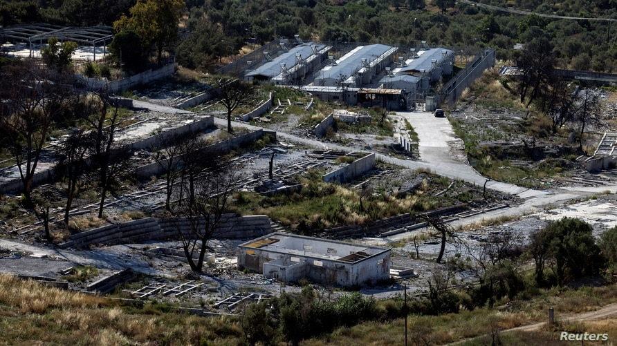 A view of the destroyed Moria camp for refugees and migrants on the island of Lesbos