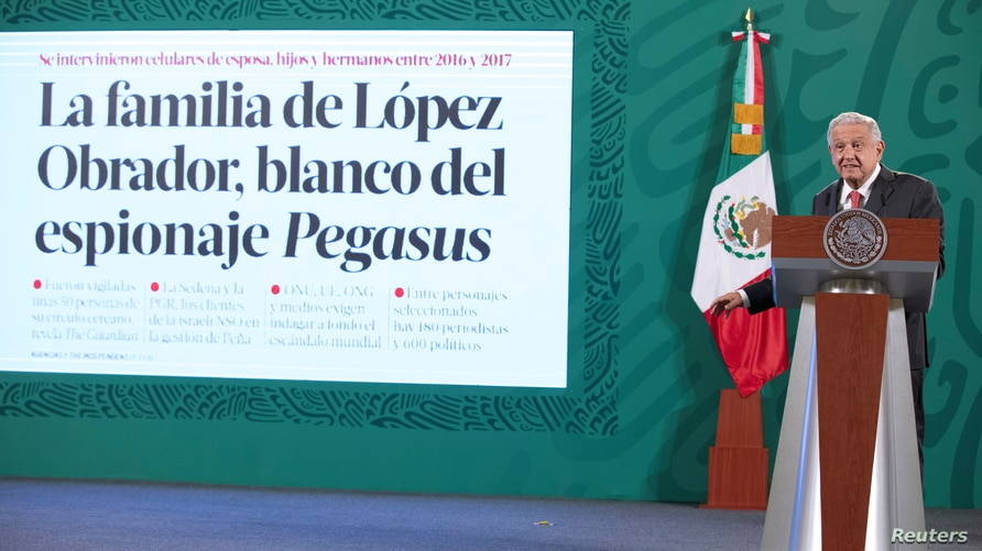 Mexican President Andres Manuel Lopez Obrador speaks during a news conference in Mexico City