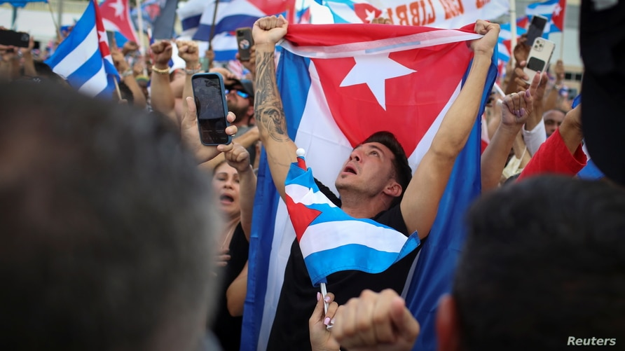 People rally in solidarity with protesters in Cuba, in Little Havana neighborhood in Miami