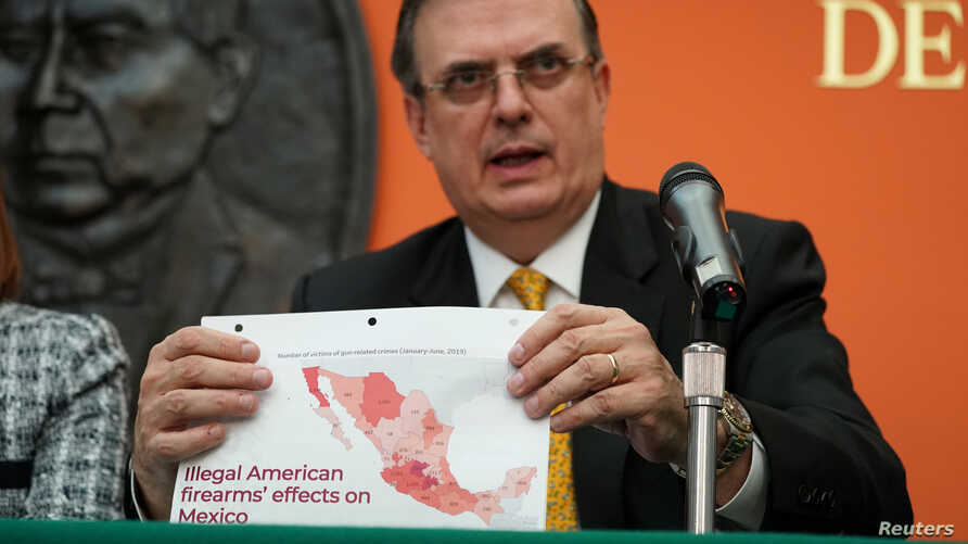 Mexico's Foreign Minister Marcelo Ebrard holds a news conference following talks with members of the Trump administration in Washington, U.S., September 10, 2019. REUTERS/Sarah Silbiger