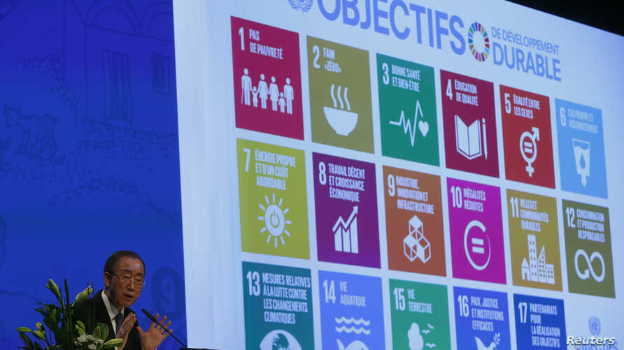 United Nations Secretary-General Ban Ki-Moon addresses the Annual Conference of Swiss Developement Cooperation in Zurich, Switzerland January 22, 2016. On the screen behind are displayed the 17 goals of UN's 2030 Agenda for Sustainable Development.    REUTERS/Arnd Wiegmann