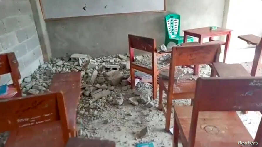 Concrete rubble are seen on the floor of a classroom at Al Anshor Islamic Boarding School after an earthquake in Ambon, Maluku province, Indonesia, September 26, 2019, in this still image from video obtained via social media. Weul Artafella via REUTERS   ATTENTION EDITORS - THIS IMAGE HAS BEEN SUPPLIED BY A THIRD PARTY. MANDATORY CREDIT. NO RESALES. NO ARCHIVES.
