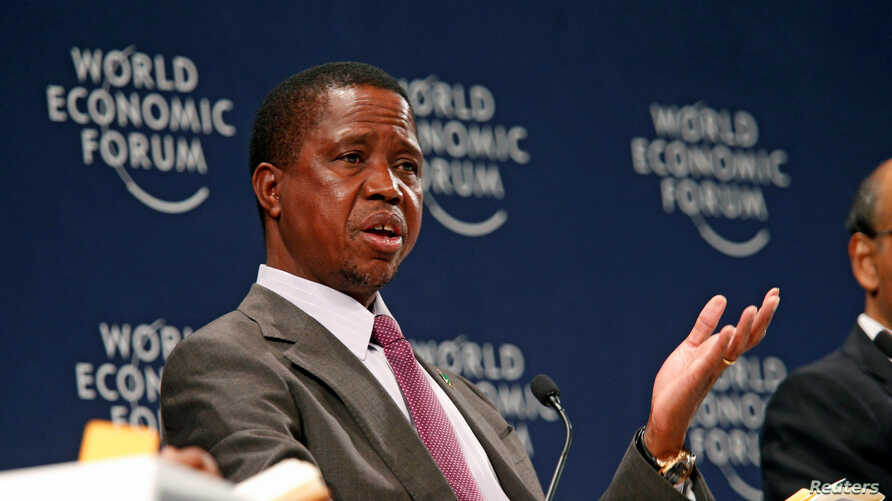 Zambian President Edgar Lungu participates in a discussion at the World Economic Forum on Africa 2017 meeting in Durban, South…