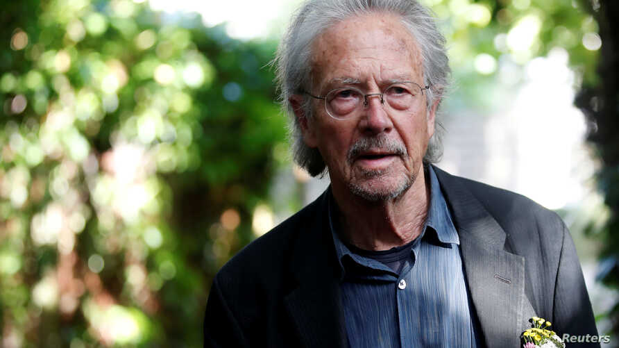 Austrian author Peter Handke is pictured at his house, following the announcement he won the 2019 Nobel Prize in Literature, in…