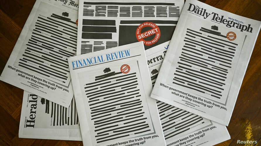 "Front pages of major Australian newspapers show a 'Your right to know"" campaign, in Canberra, Australia, October 21, 2019…"