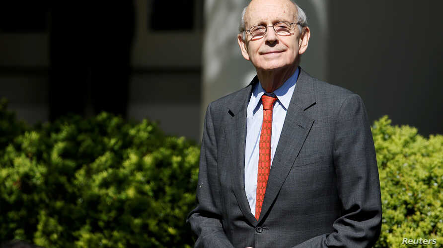 FILE PHOTO: Associate Supreme Court Justice Stephen Breyer arrives for the swearing in ceremony of Judge Neil Gorsuch as an…