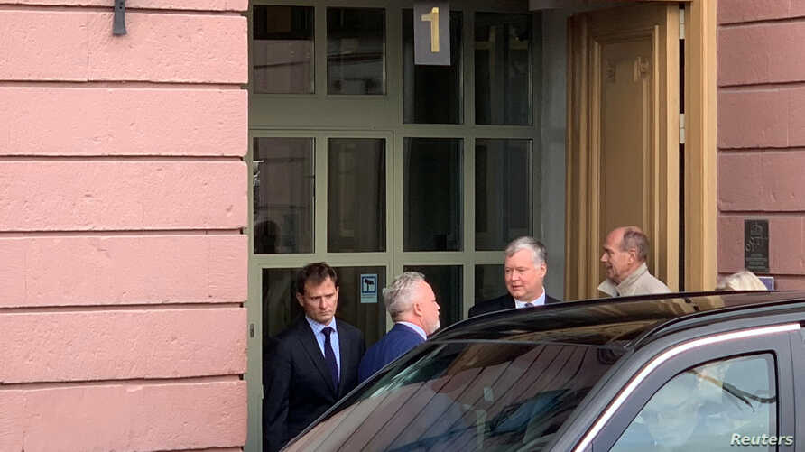 U.S. special envoy for North Korea Stephen Biegun leaves a meeting at the Swedish Foreign Ministry in Stockholm, Sweden,…