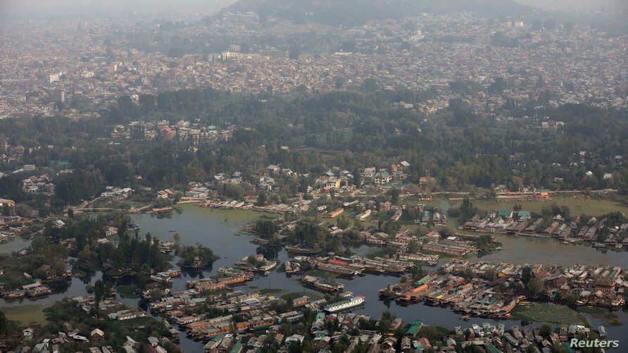 FILE PHOTO: An aerial view shows Dal Lake, one of Kashmir's main tourist attractions, in Srinagar, September 20, 2019. REUTERS…