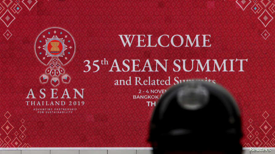 A police officer stands guard outside the venue for the upcoming the 35th ASEAN Summit in Bangkok, Thailand, November 1, 2019…