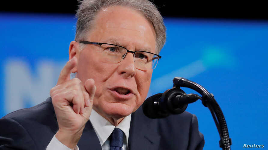 Wayne LaPierre, executive vice president and CEO of the National Rifle Association (NRA), speaks at the NRA annual meeting in…