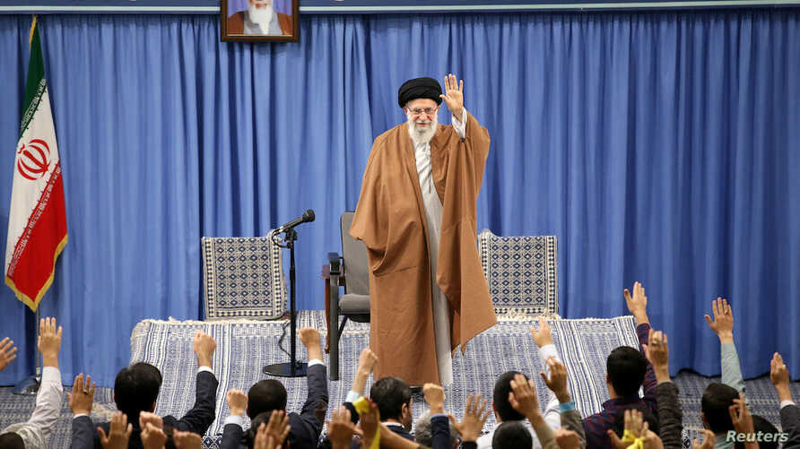 Iranian Supreme Leader Ayatollah Ali Khamenei meets with a group of school and university students in Tehran
