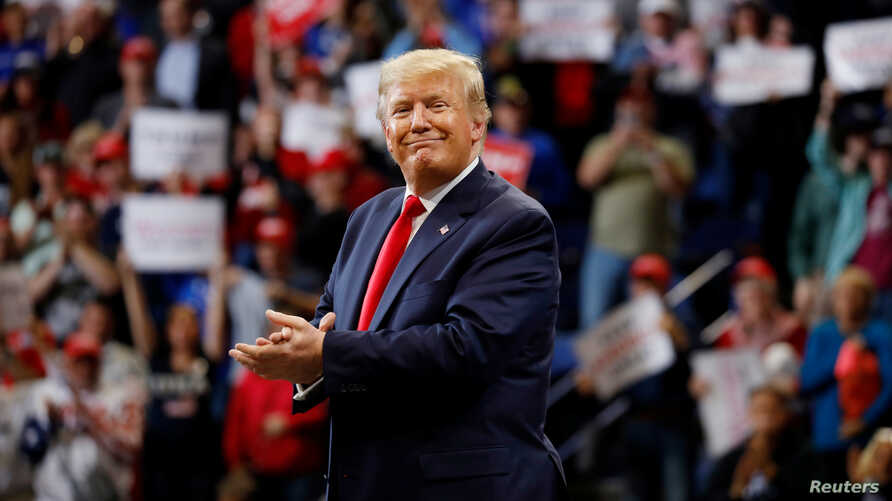 U.S. President Donald Trump attends a Keep America Great Rally at the Rupp Arena in Lexington, Kentucky, U.S., November 4, 2019…