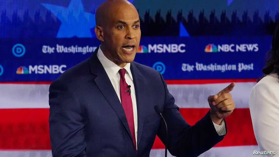 Democratic presidential candidate Senator Cory Booker speaks during the fifth 2020 campaign debate at the Tyler Perry Studios…