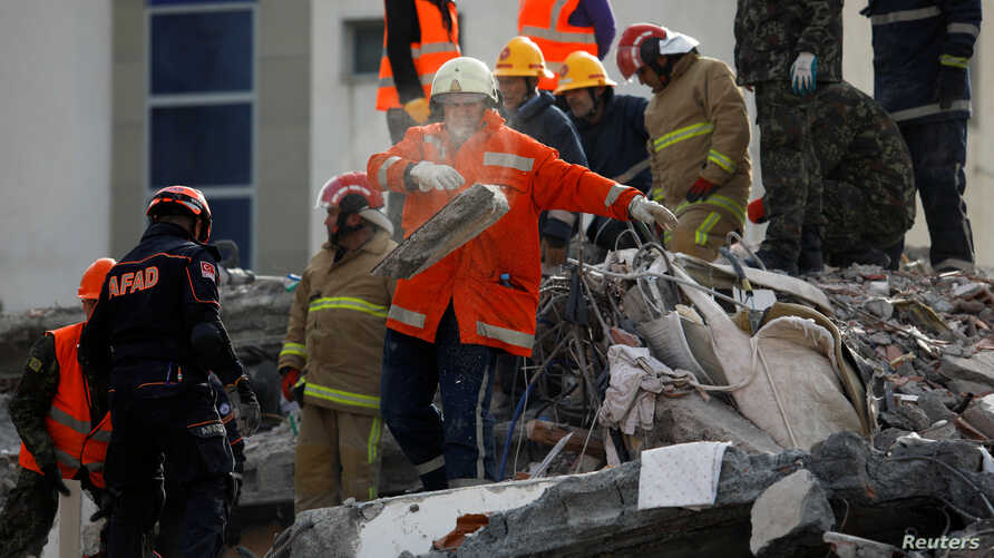 collapsed building in Albania earthquake