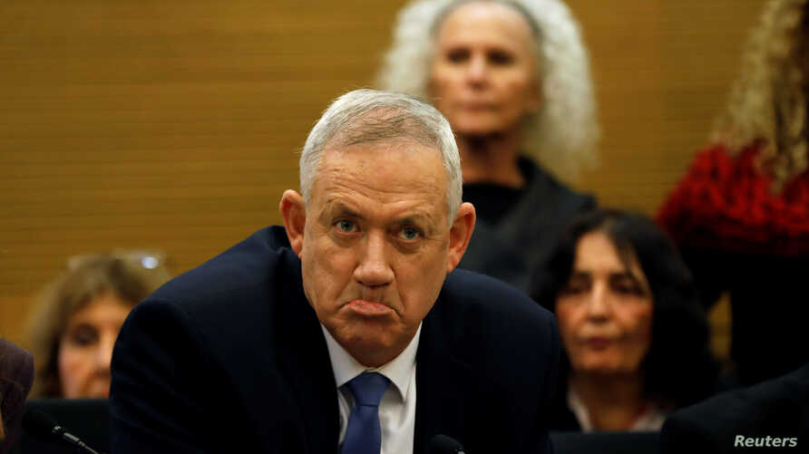 Benny Gantz, leader of Blue and White party, reacts during a committee meeting at the Knesset, Israel's parliament, in…