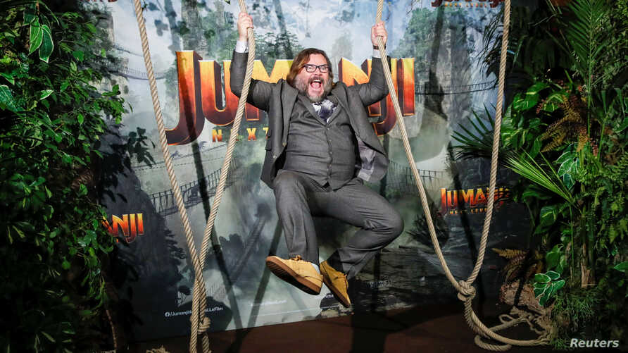 """Cast member Jack Black attends the premiere of the movie """"Jumanji: The Next Level"""" at the Grand Rex in Paris, France, December…"""