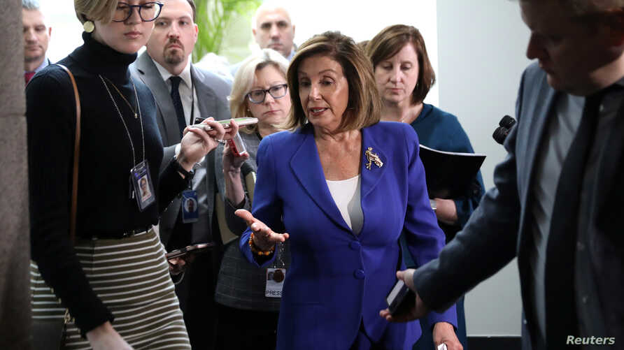 U.S. House Speaker Nancy Pelosi answers questions from reporters after leaving a House Democratic caucus meeting on Capitol…