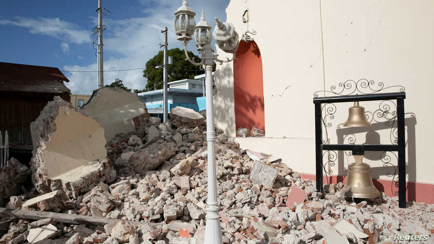 A view of a damaged church after the earthquake in Guayanilla, Puerto Rico, January 9, 2020. REUTERS/Marco Bello
