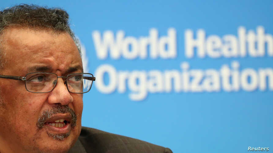 Director-General of the World Health Organization (WHO) Tedros Adhanom Ghebreyesus speaks during a news conference after a…