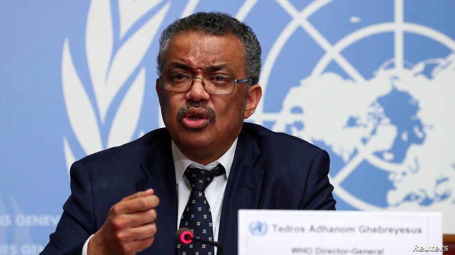 Director-General of the World Health Organization (WHO) Tedros Adhanom Ghebreyesus speaks during a news conference on the…