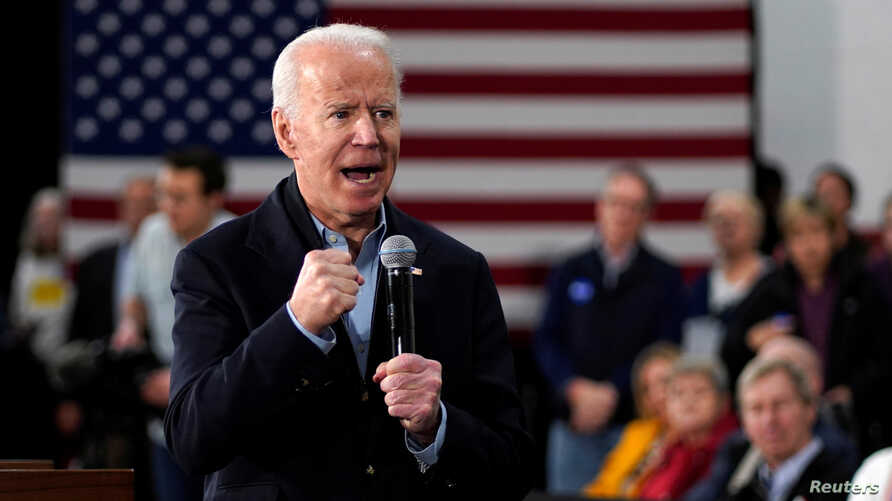 Democratic presidential candidate and former Vice President Joe Biden speaks at a campaign event in Nashua, New Hampshire, Feb. 4,2020.